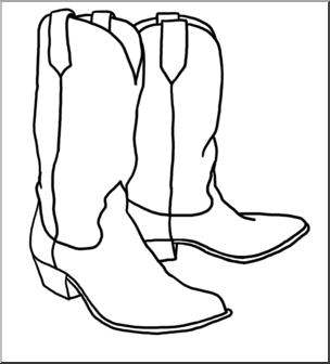 Cowboy boots clipart images banner free stock Clip Art: Western Theme: Cowboy Boots B&W I abcteach.com | abcteach banner free stock