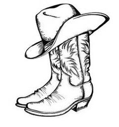 Clipart cowboy boots jpg black and white download Cowboy Boot Line Drawing at PaintingValley.com | Explore collection ... jpg black and white download