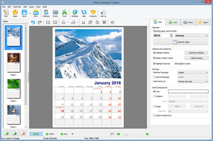 Clipart creator software graphic freeuse Photo Calendar Creator - Download graphic freeuse