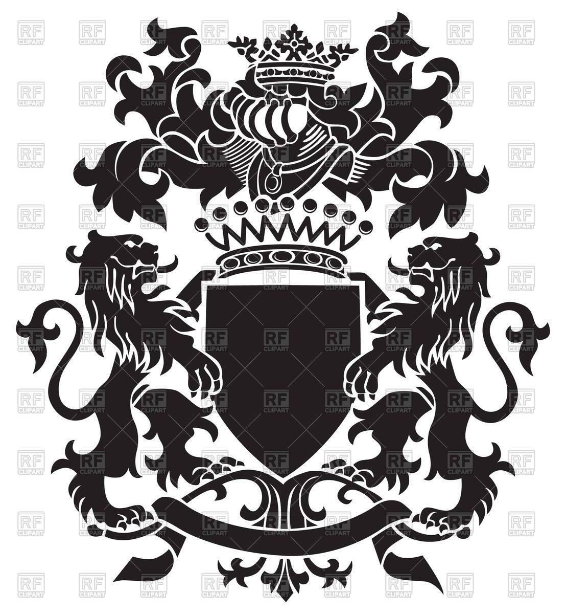 Clipart crest logo clip art royalty free download Medieval heraldic emblem - royal coat of arms with lions, shield and ... clip art royalty free download
