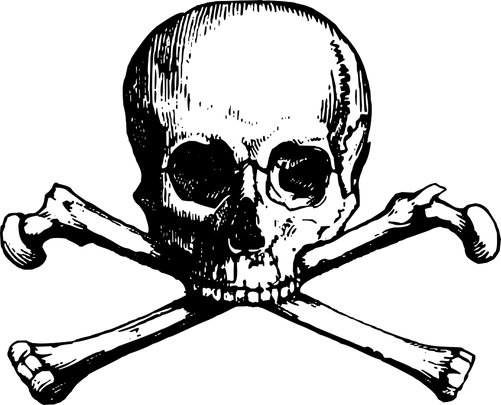 Free skull and crossbones with black background clipart. Cross bones png images