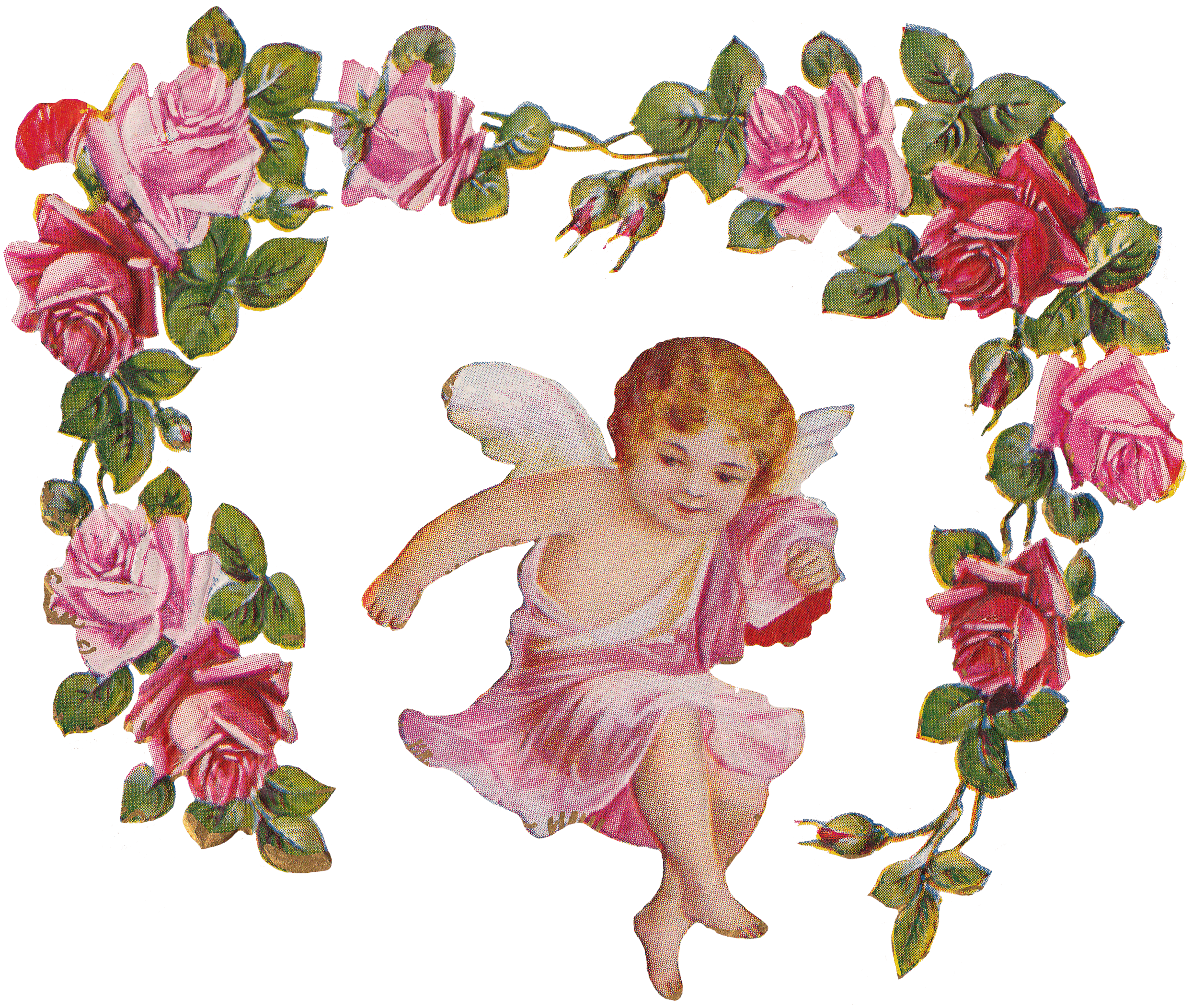 Cross with roses clipart black and white download Cherub Angel Roses Vintage transparent PNG - StickPNG black and white download