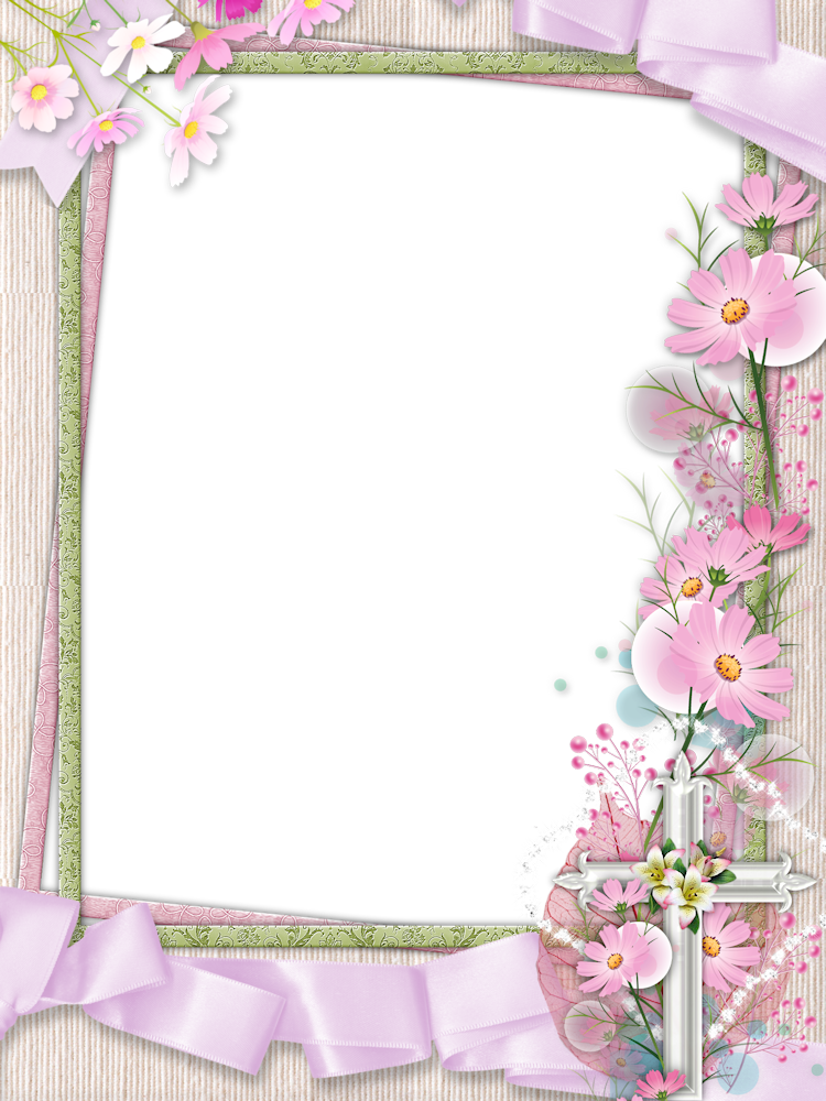 Cross flowers clipart clip art black and white library Pink PNG Photo Frame with Cross and Flowers | Gallery Yopriceville ... clip art black and white library