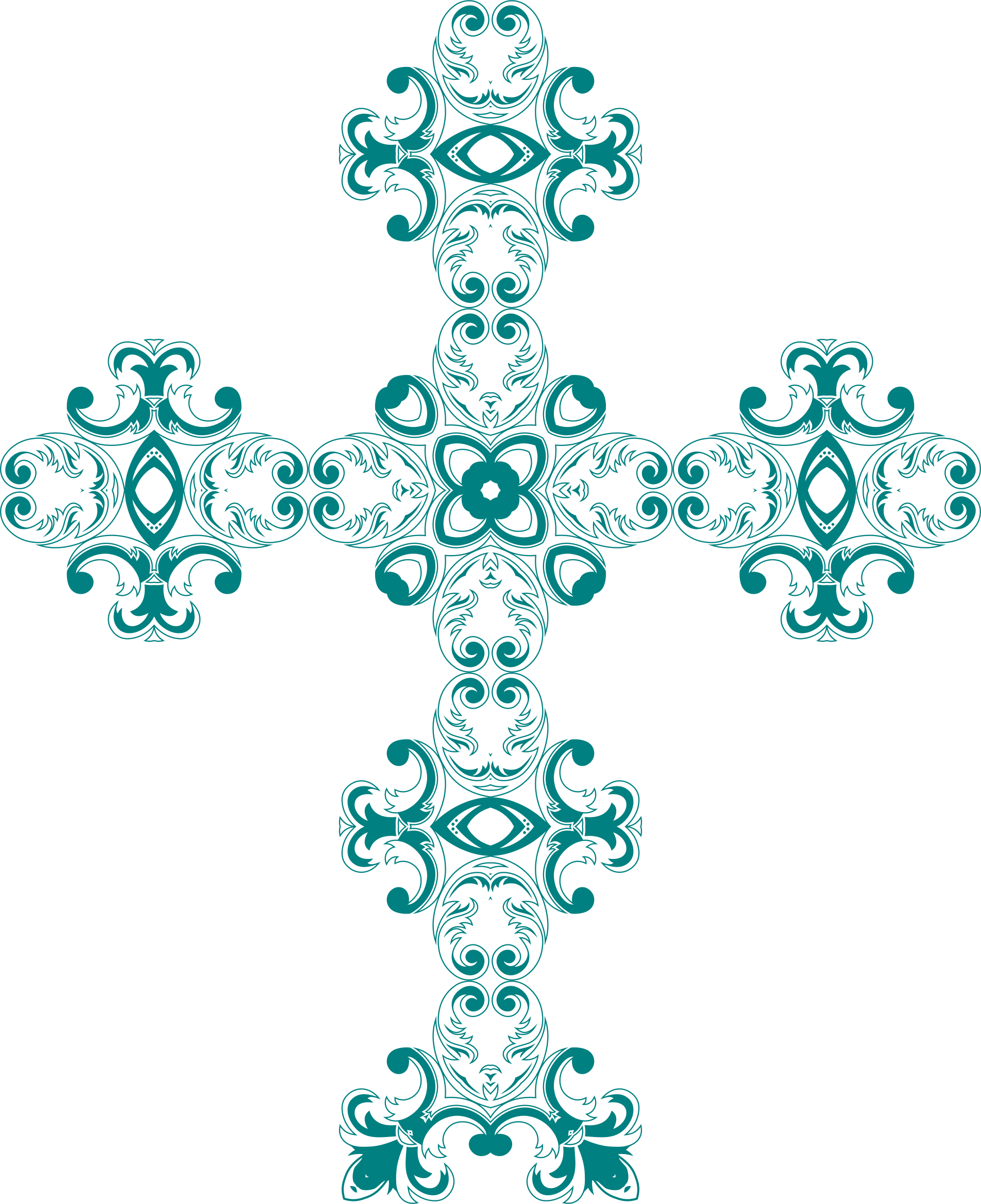 Turquoise cross clipart vector black and white library Clipart - Vintage Floral Design Mark II Cross vector black and white library