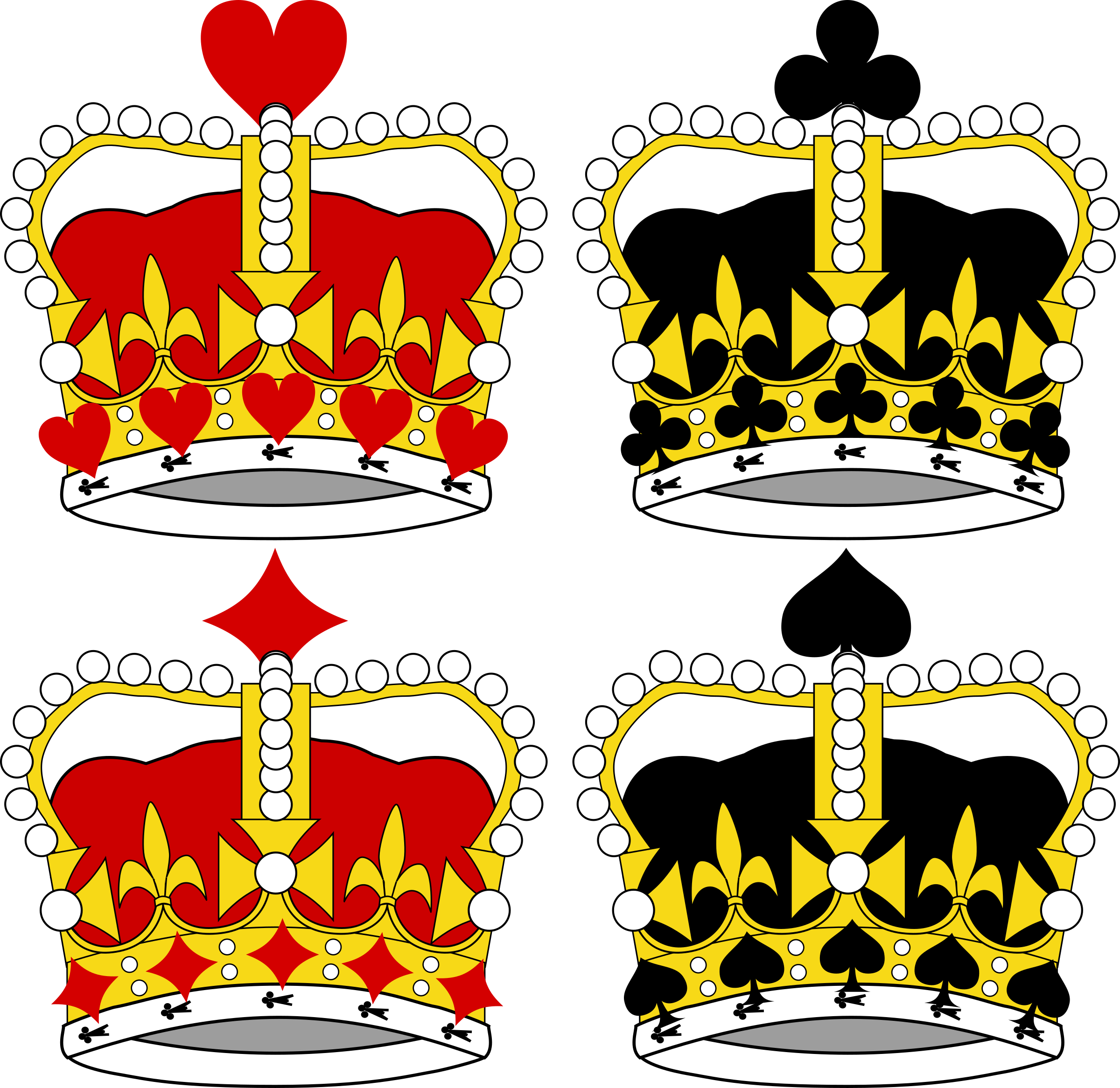 Clipart crown vector vector black and white stock Clipart - Stylized Crowns for Card Faces vector black and white stock