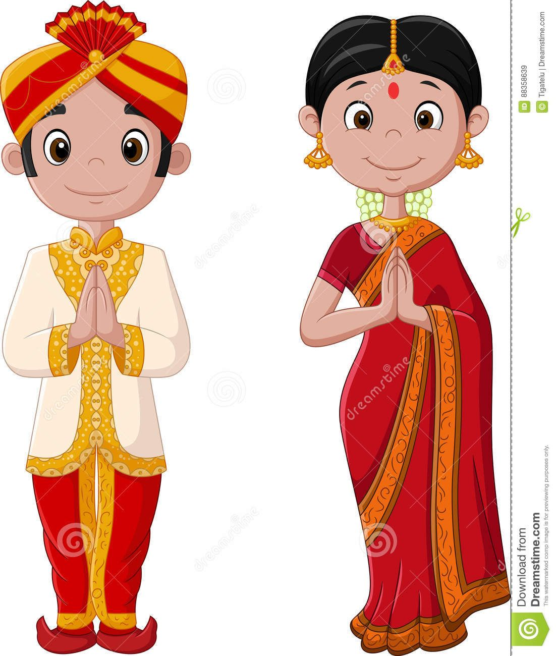 Iyengar traditional costume of tamil nadu clipart graphic black and white download Cartoon Indian Couple Wearing Traditional Costume - Download From ... graphic black and white download