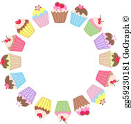 Clipart cupcake border picture library Cupcake Border Clip Art - Royalty Free - GoGraph picture library