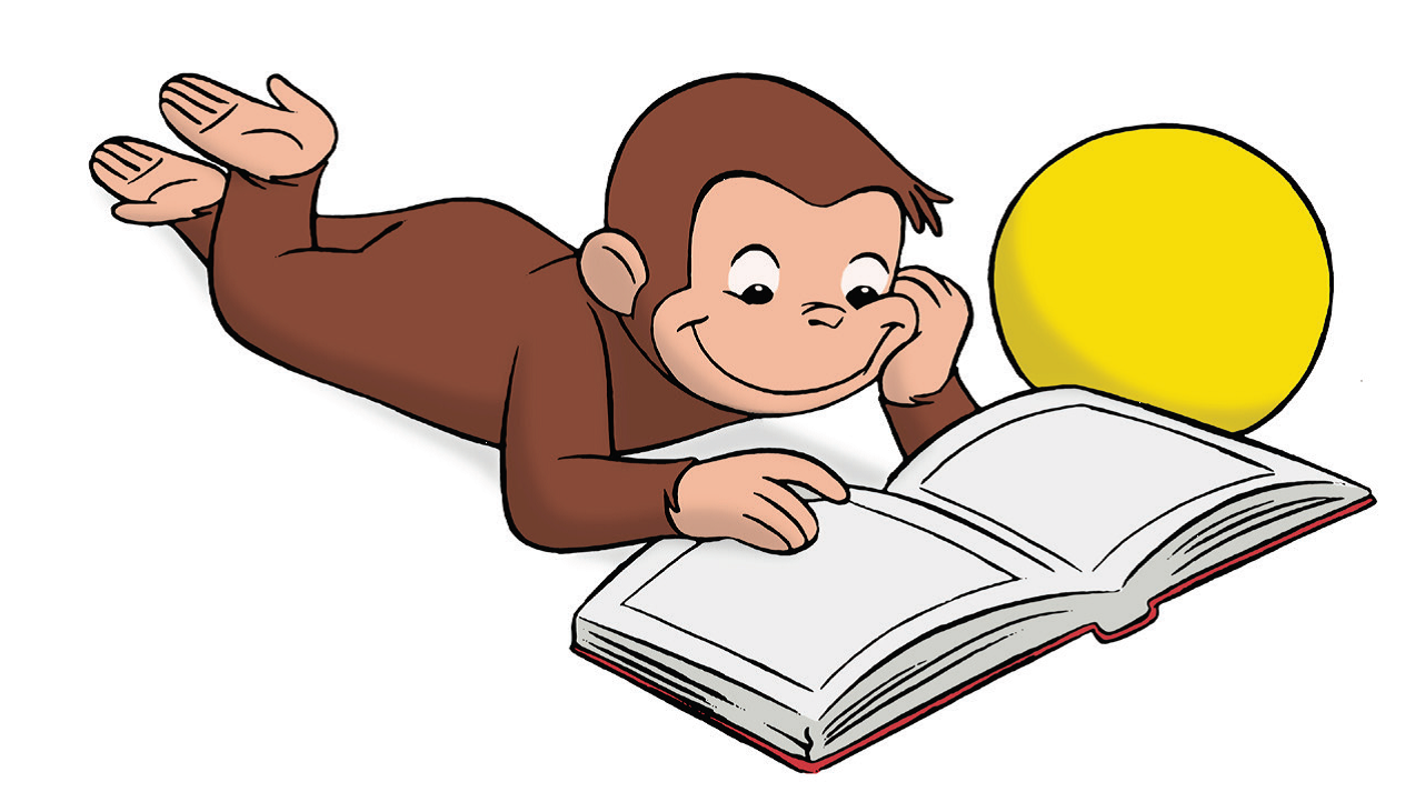 Clipart curious jpg library library Curious George Reading Clip Art free image jpg library library