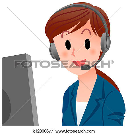 Clipart customer service black and white download Clipart of Customer service representative k12800671 - Search Clip ... black and white download
