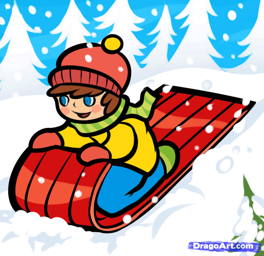 Clipart cute animals sledding down snowy hill clip stock How to Draw a Snow Sled, Step by Step, Christmas Stuff, Seasonal ... clip stock
