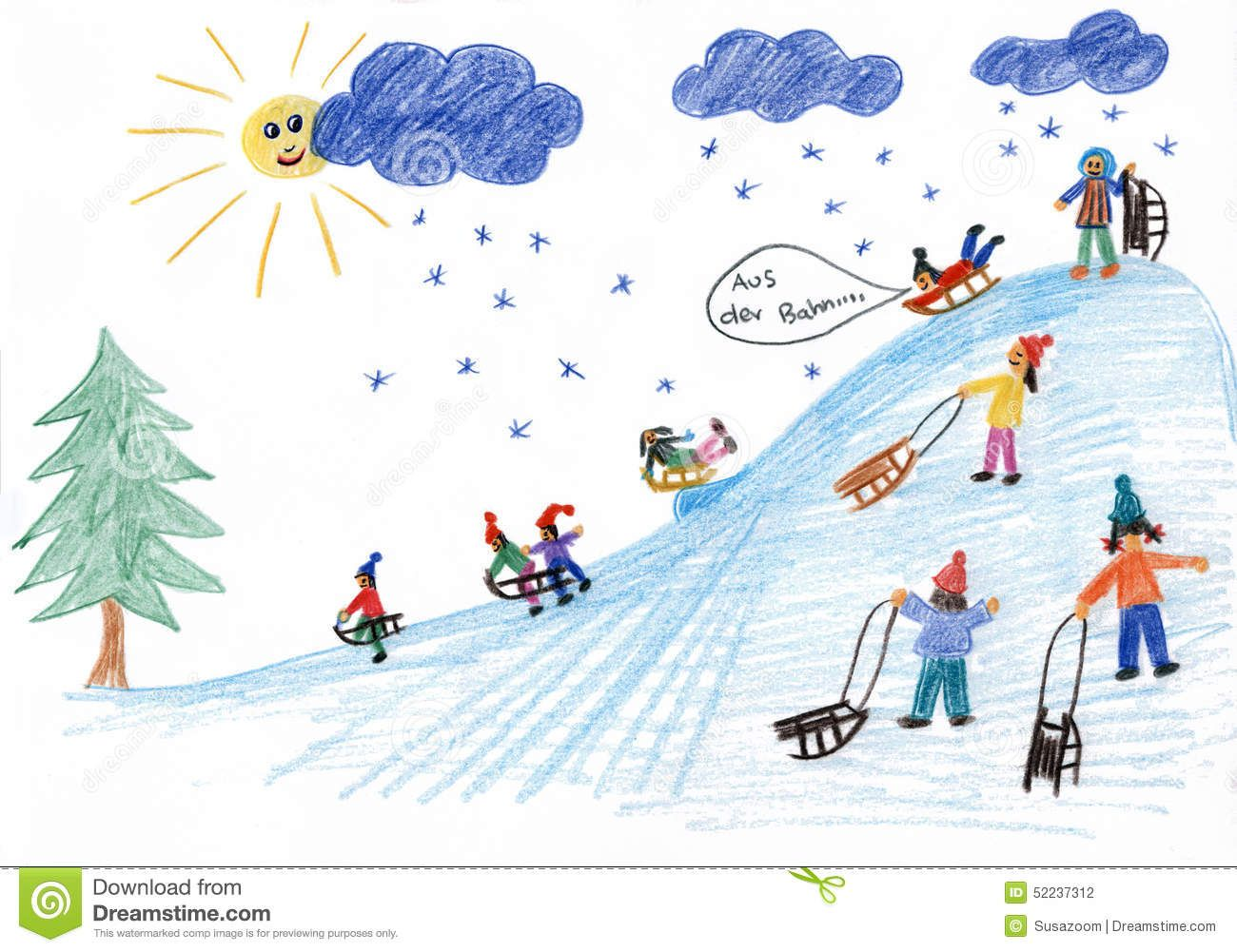 Clipart cute animals sledding down snowy hill jpg black and white library Sledding Kids On The Hill - Children Painting - Download From Over ... jpg black and white library