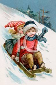 Clipart cute animals sledding down snowy hill vector library download Cartoon of Two Children Wearing Hats and Scarves Sliding Down a ... vector library download