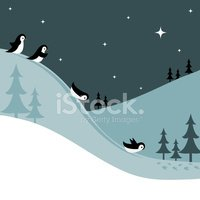 Clipart cute animals sledding down snowy hill clip transparent download Penguins Sledding Down A Snowy Hill AT Night stock vectors - Clipart.me clip transparent download