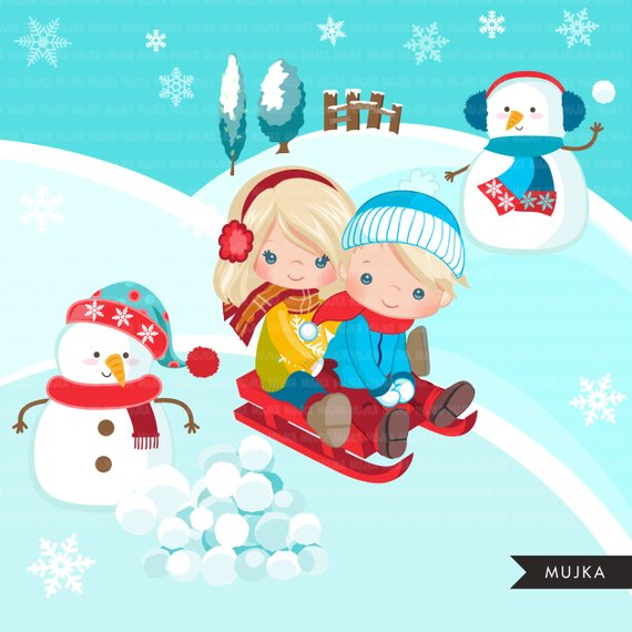 Clipart cute animals sledding down snowy hill clipart library stock Winter sled snow background with snowman clipart, sledding ... clipart library stock