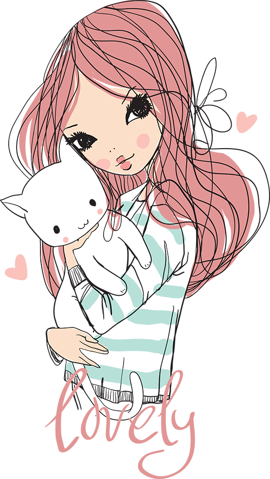 Clipart cute girl with cat picture freeuse stock tubes personnages | Teen clipart | Pinterest | Illustrations ... picture freeuse stock