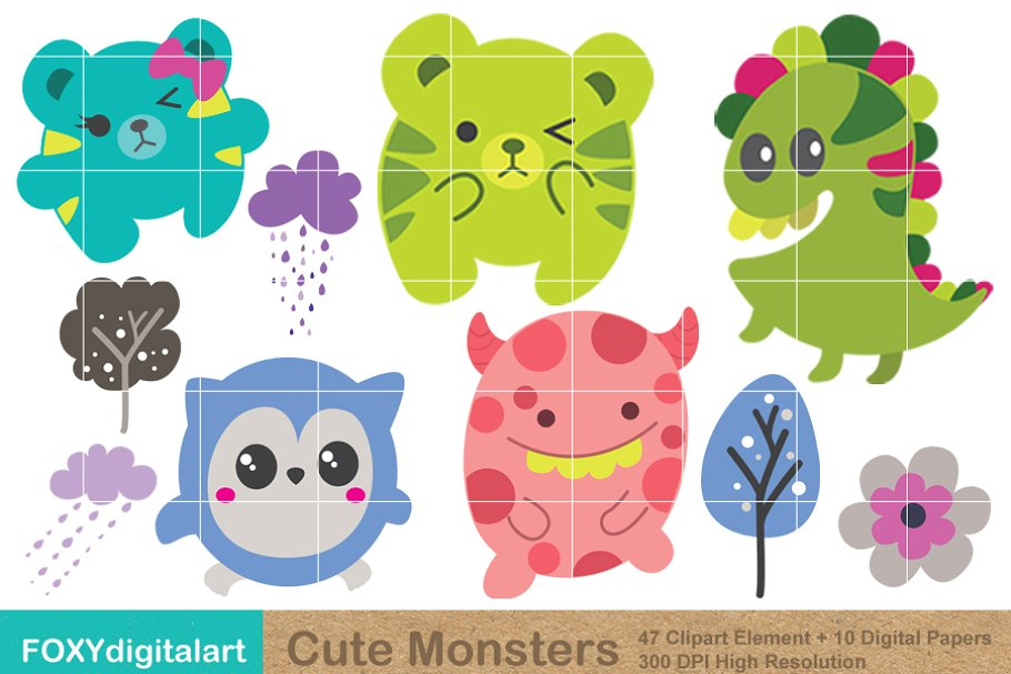 Clipart cute monster svg free Cute Monster Clipart & Digital Paper svg free