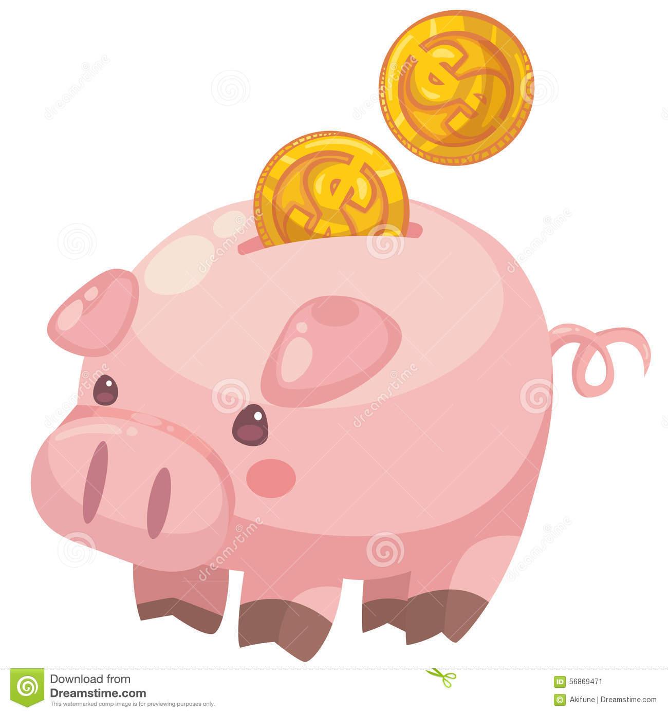 Cartoon with coins stock. Clipart cute piggy bank