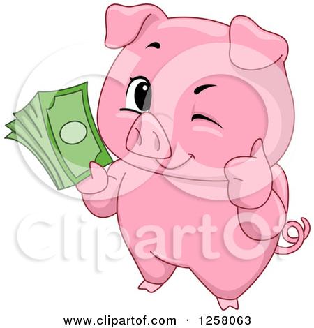 Clipart cute piggy bank. Royalty free rf illustration
