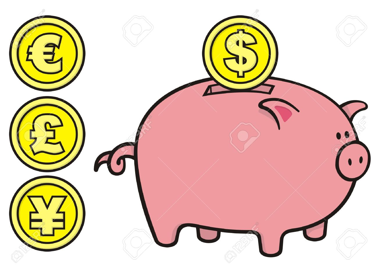 Pink cartoon illustration with. Clipart cute piggy bank
