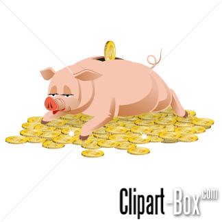 CLIPART PIGGY BANK ON GOLD COINS | Royalty free vector design clip art transparent stock