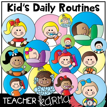 Clipart daily routine svg black and white library Kid & Student Daily Routines * Picture Schedule Clipart svg black and white library