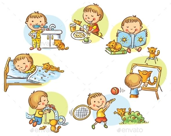Clipart daily routine black and white Little Boy\'s Daily Activities | French for kids | Daily activities ... black and white