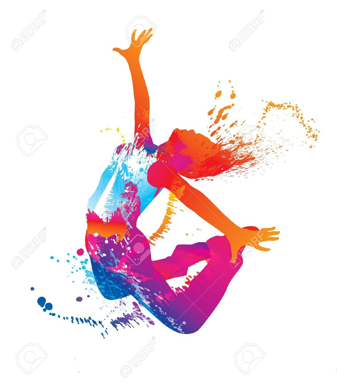Clipart dancers silhouette with ink splashes