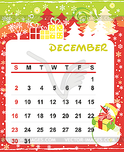 Kid vector image. Clipart december calendar