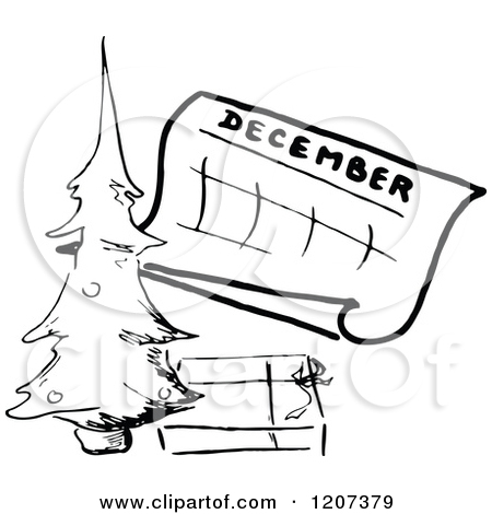 Of a vintage black. Clipart december calendar