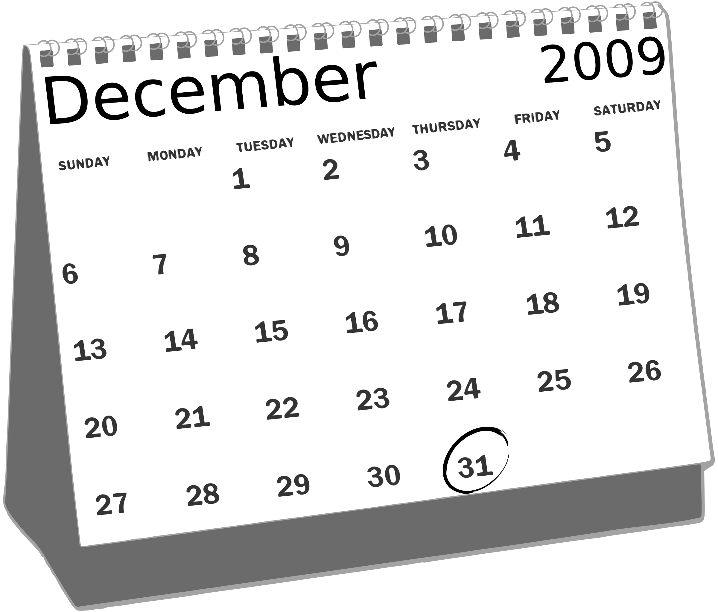 Clipart december calendar clipart black and white library Clipart - Desk Calendar clipart black and white library