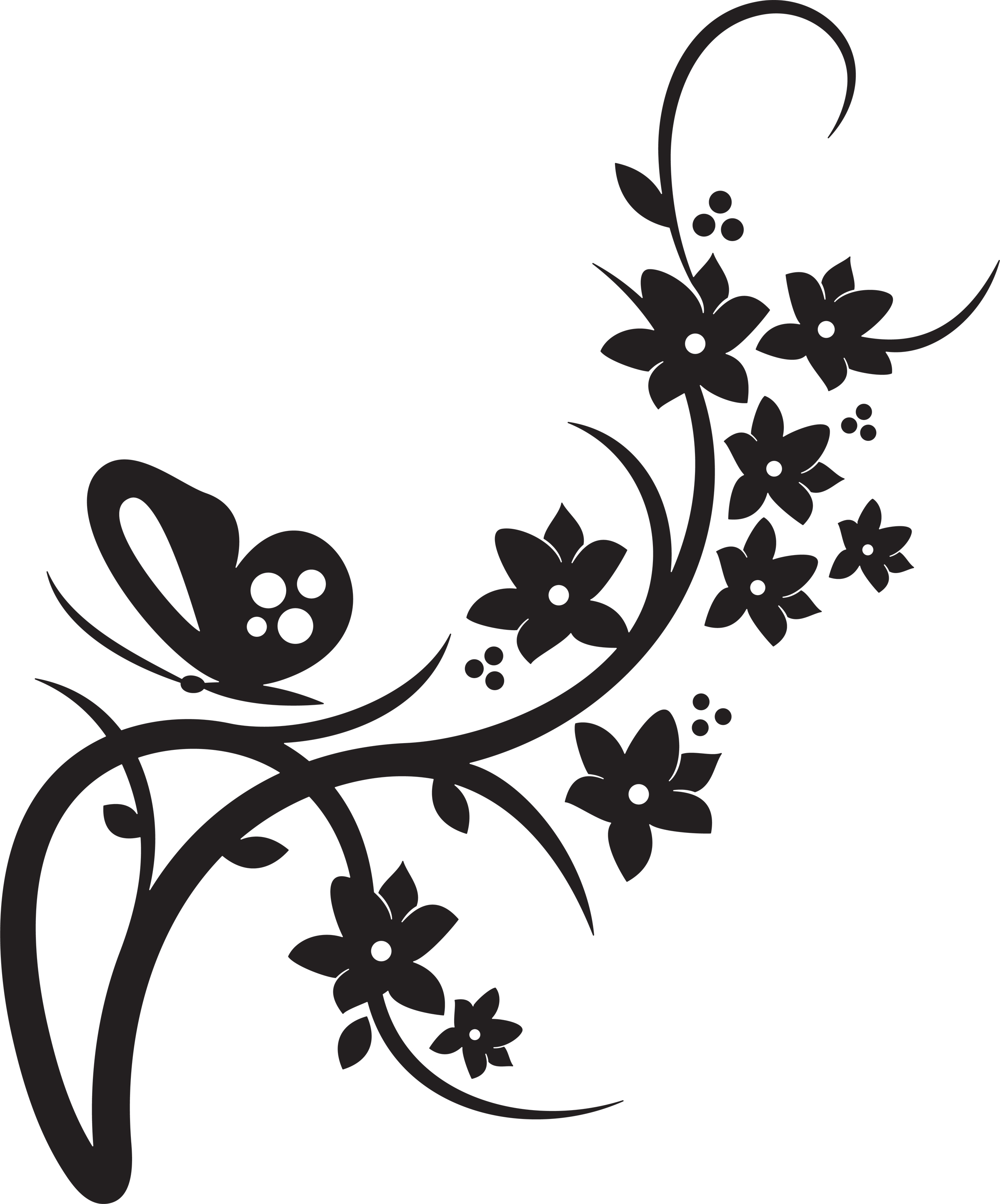 Flower butterflies clipart black and white border