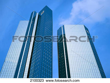 Clipart deutsche bank jpg black and white Stock Photo of Low angle view of skyscrapers, Deutsche Bank ... jpg black and white
