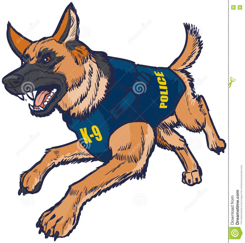 Clipart deutsche polizei clip art transparent stock Police K9 German Shepherd Dog With Bulletproof Vest Illustration ... clip art transparent stock