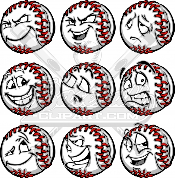 Clipart deviousl image royalty free library Baseball Face Clipart- Sad, Joyful, Scared, Confident, Devious image royalty free library