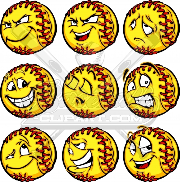 Clipart deviousl graphic library library Softball Face Clipart- Sad, Joyful, Scared, Confident, Devious graphic library library