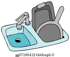 Clipart dishes in sink clipart transparent Dirty Dishes Clip Art - Royalty Free - GoGraph clipart transparent