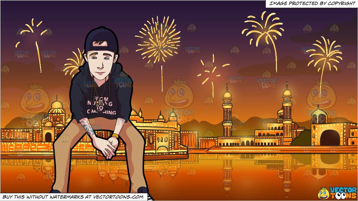 Clipart diwali background svg royalty free clipart #cartoon A Teenage Boy With Tattoos and Fireworks Display ... svg royalty free