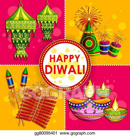 Clipart diwali background clipart royalty free stock Vector Illustration - Happy diwali background with diya and ... clipart royalty free stock