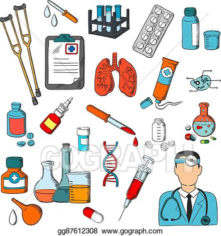 Clipart doctor tools clipart library library Vector Illustration - Medical tools and treatment icons. EPS Clipart ... clipart library library