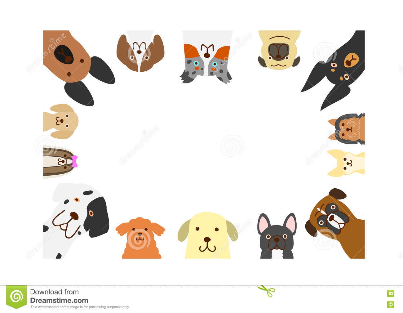 Clipart dog bigand small png download Big And Small Dogs Rectangle Frame Stock Vector - Image: 77375736 png download