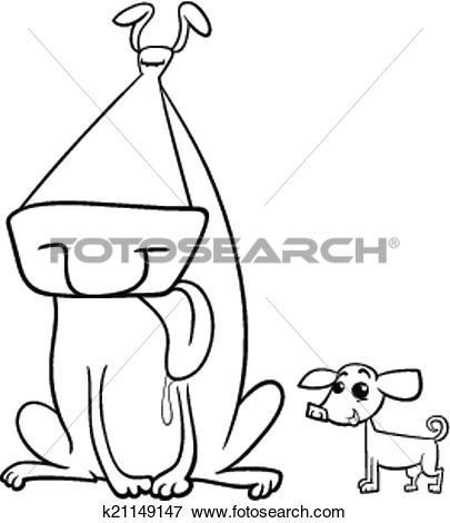 Clipart dog bigand small png transparent stock Clip Art of big and small dogs coloring page k21149147 - Search ... png transparent stock