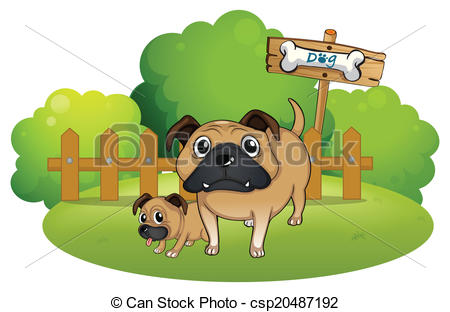 Clipart dog bigand small clip freeuse download EPS Vectors of A big and a small dog near the signboard ... clip freeuse download
