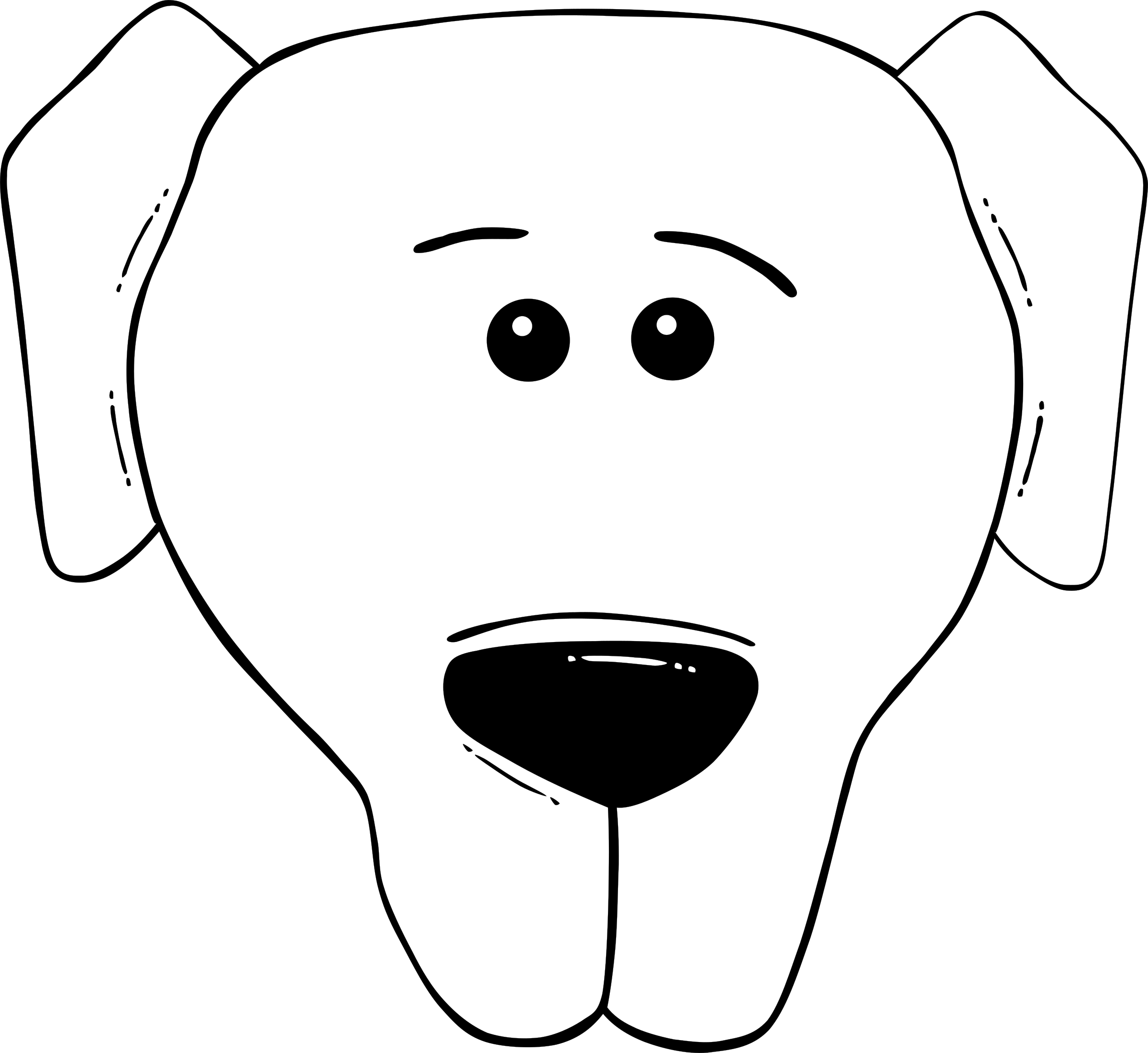 Dog face clipart vector black and white download Clipart - G Dog Face Cartoon - World Label 2 vector black and white download