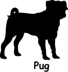 Running dog profile black and white clipart graphic free stock Free Pug Dog Clip Art Image: Pug dog silhouette with the word, \