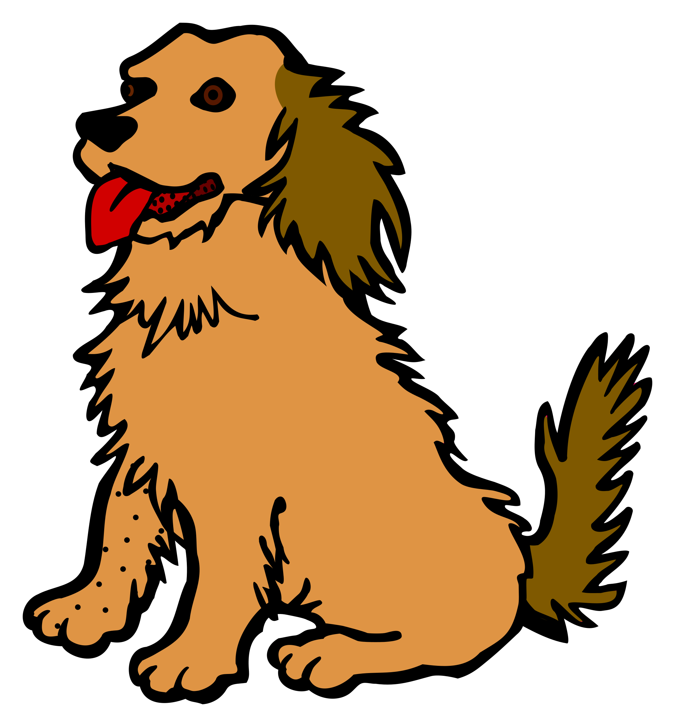 Dog with tongue out clipart. Coloured big image png