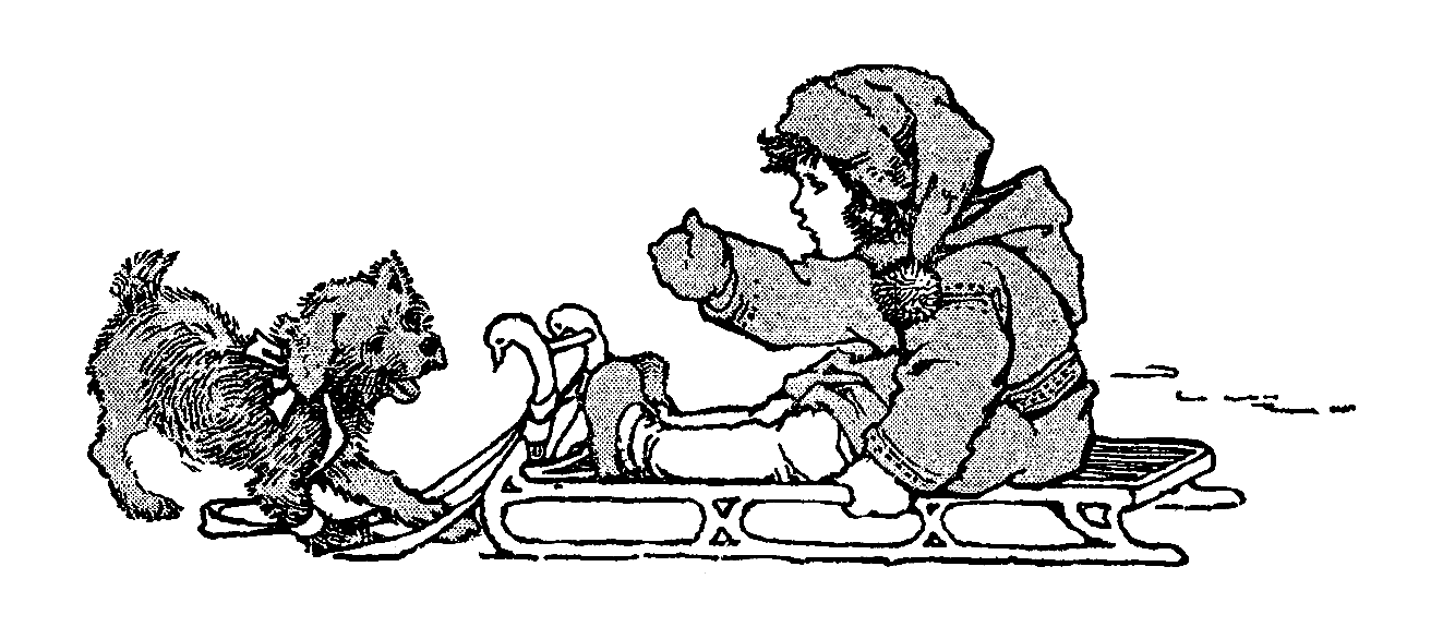 Snow dog clipart banner black and white Antique Images: Free Digital Winter Image Transfer Clip Art of Child ... banner black and white