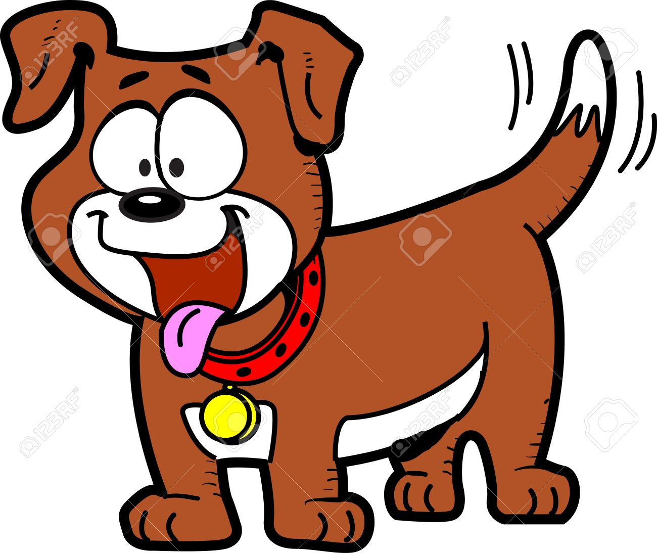 Clipart dog tail png black and white library Happy Cartoon Dog With Tongue Out And Wagging His Tail Royalty ... png black and white library