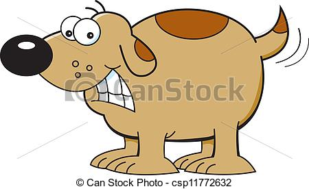 Vectors of cartoon illustration. Clipart dog wagging tail