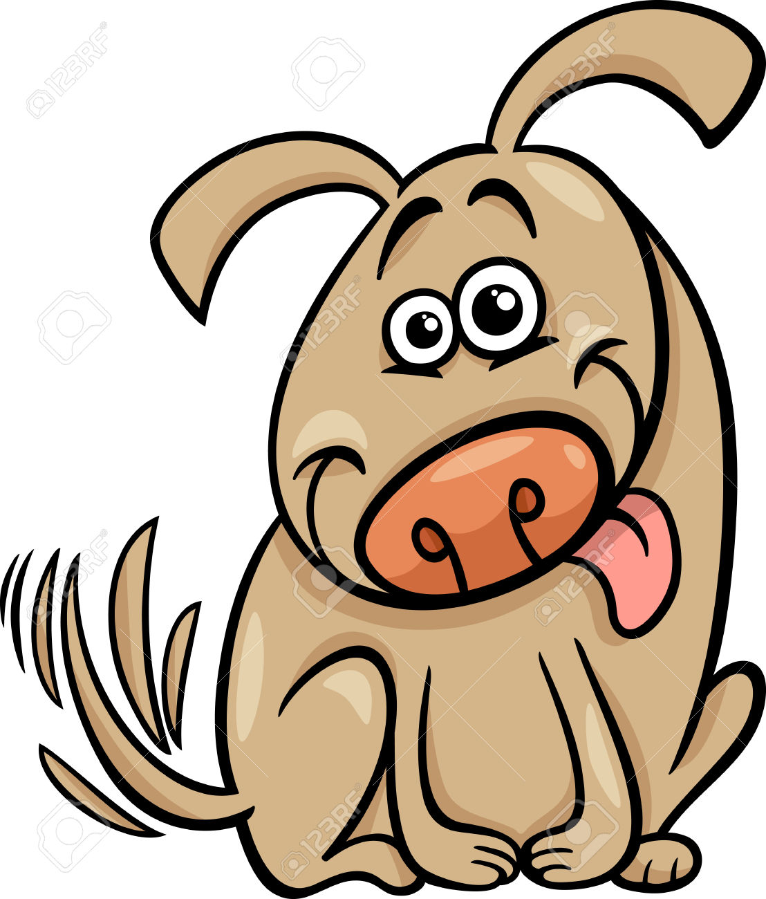 Clipart dog wagging tail image Cartoon Illustration Of Cute Dog Wagging His Tail Royalty Free ... image
