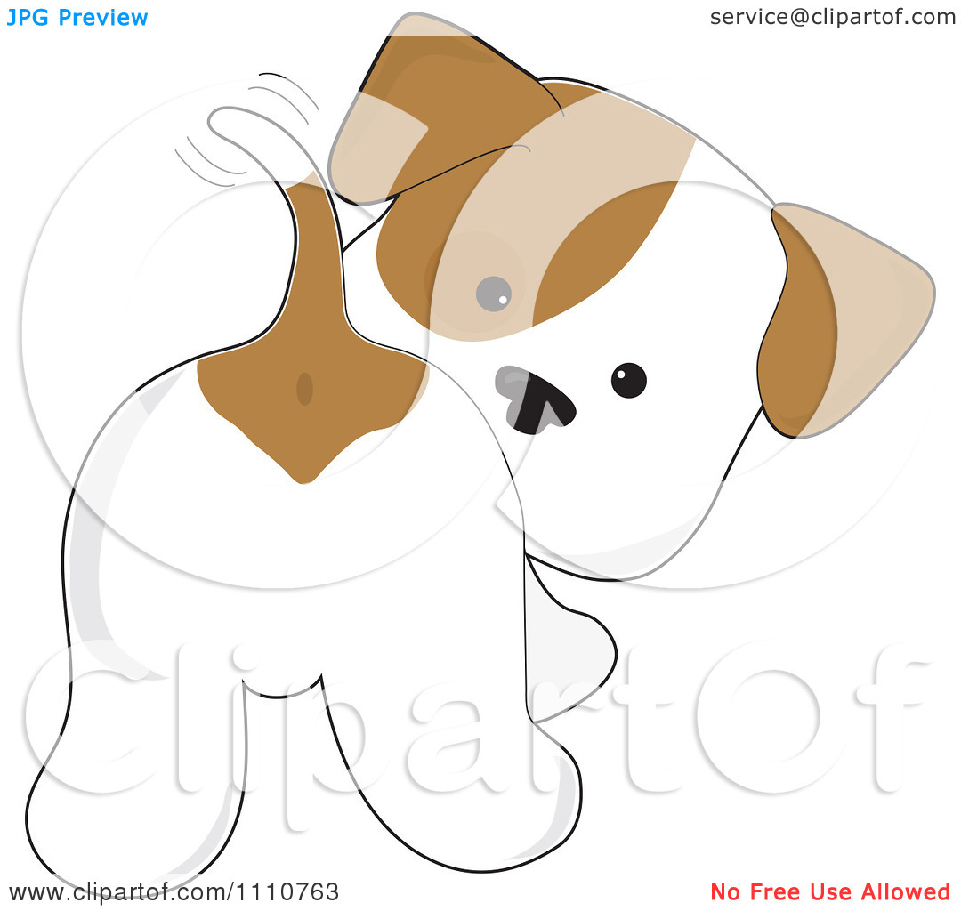 Clipart dog wagging tail jpg library Clipart Cute Puppy Looking Back And Wagging His Tail - Royalty ... jpg library